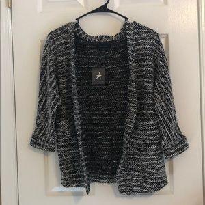 Black and White Quarter- Sleeved Cardigan